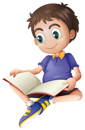child learning: Illustration of a young man reading on a white background