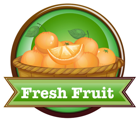 Illustration of a basket of oranges with a fresh fruit label on a white background Vector