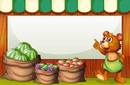 Illustration of an empty template at the market with a bear and sack of fruits Vector