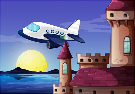 Illustration of an airplane near the castle Vector