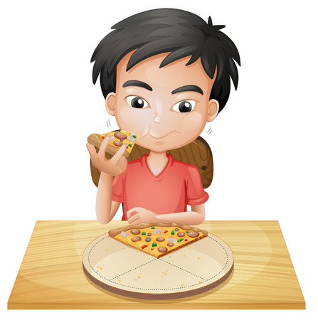 Illustration of a boy eating pizza on a white background Illustration