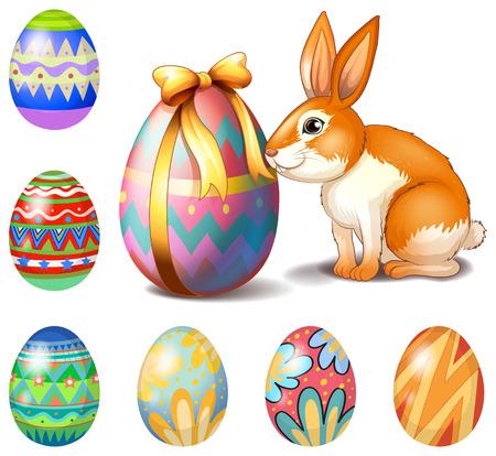 lapin blanc: Illustration des sept oeufs de Pâques et un lapin sur un fond blanc