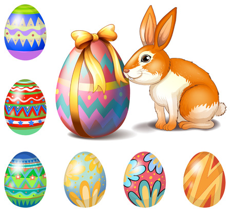 white rabbit: Illustration of the seven Easter eggs and a bunny on a white background