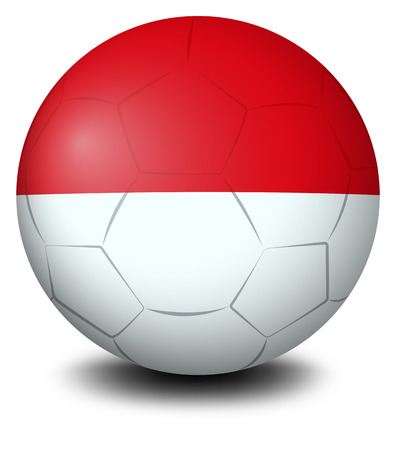 footwork: Illustration of a soccer ball with the Indonesian flag on a white background