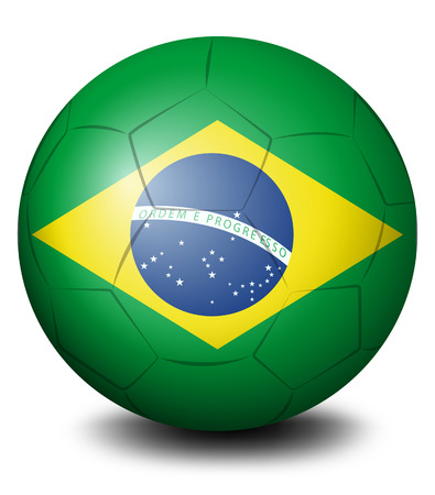 kicking ball: Illustration of a soccer ball with the flag of Brazil on a white background