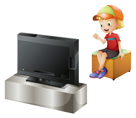 viewing angle: Illustration of a happy kid watching TV on a white background