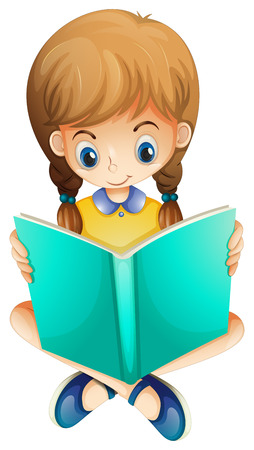 cartoon reading: Illustration of a young girl reading a book seriously on a white background Illustration