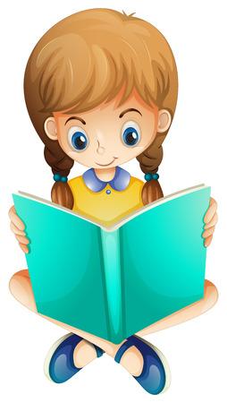 niños estudiando: Ilustración de una chica joven que lee un libro serio sobre un fondo blanco Vectores