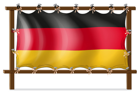 tricoloured: Illustration of a wooden frame with a German flag on a white background Illustration