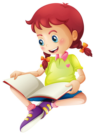 Illustration of a young lady reading a book on a white background