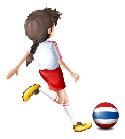예행 연습: 흰색 배경에 태국 여성 축구 선수의 그림 일러스트