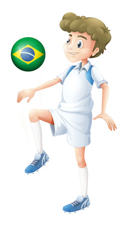 footwork: Illustration of a soccer player from Brazil on a white background Illustration