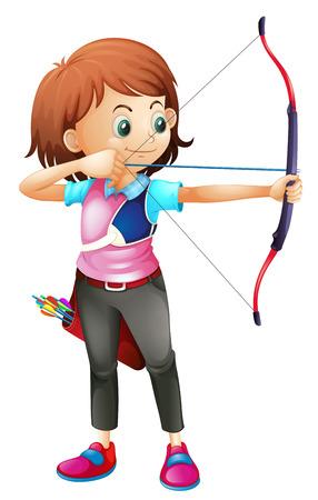 Ilustración de una chica joven que juega el tiro con arco sobre un fondo blanco Vectores