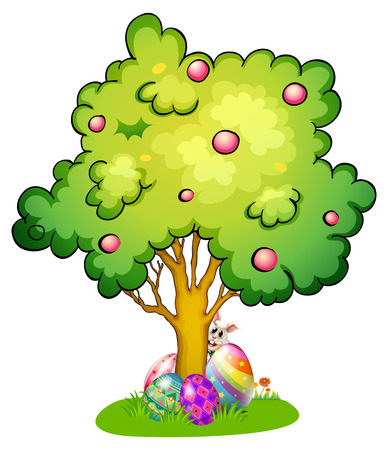 creative egg painting: Illustration of a bunny and eggs under the tree on a white background