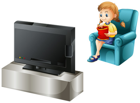 Illustration of a child watching TV on a white background