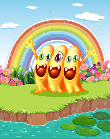 Illustration of the three monsters near the pond Vector
