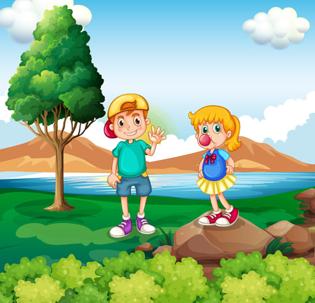 riverside: Illustration of the two kids at the riverside