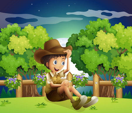 Illustration of a young explorer above the hill Vector
