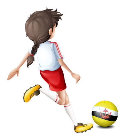 footwork: Illustration of a soccer player with the flag of Brunei on a white background Illustration