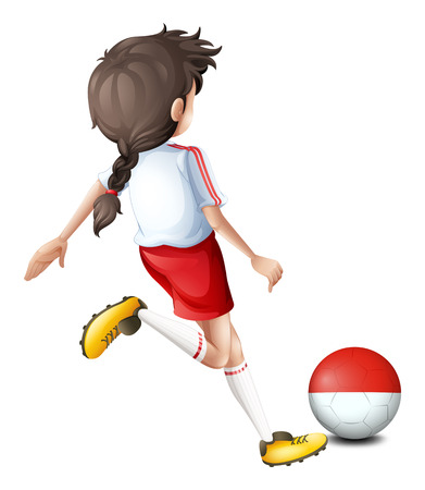 the indonesian flag: Illustration of a soccer player with the Indonesian flag on a white background