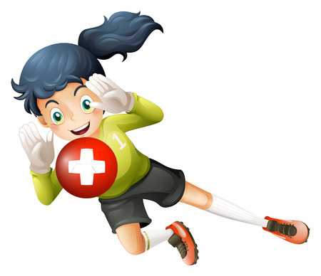 footwork: Illustration of a soccer player with the flag of Switzerland on a white background