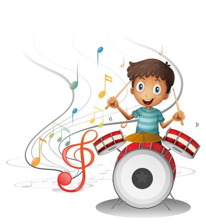 tambor: Ilustración de un joven baterista sonriente sobre un fondo blanco