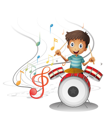 Illustration of a young drummer smiling on a white background