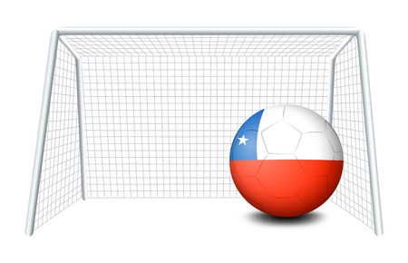 football net: Illustration of a soccer ball with the flag of Chile on a white background Illustration