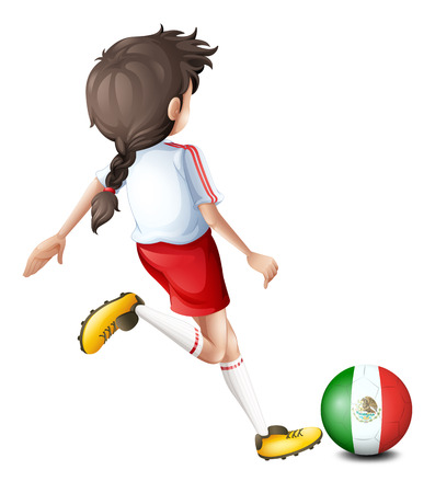 Illustration of a player using the ball with the flag of Mexico on a white background