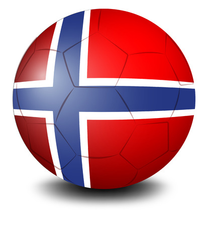 Illustration of a soccer ball with the flag of Norway on a white background Vector