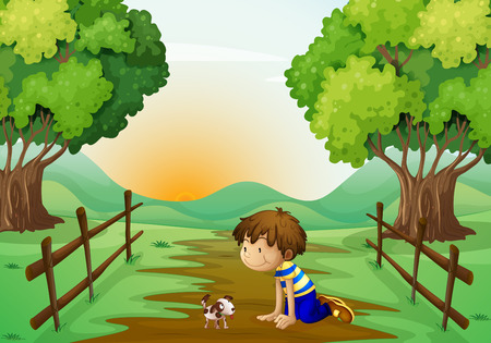 bestfriend: Illustration of a young boy and his pet in the middle of the street