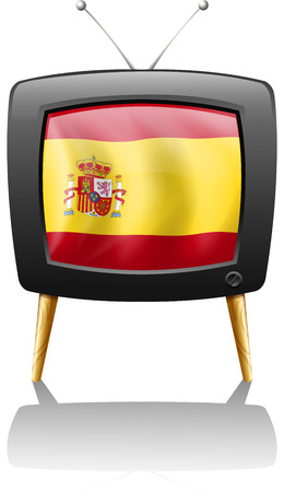 spaniards: Illustration of a TV with the flag of Spain on a white background