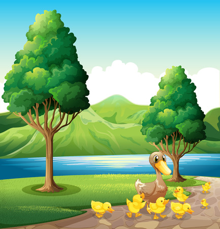 Illustration of a family of duck at the riverbank