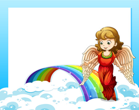 Illustration of an empty template with a rainbow and an angel Vector
