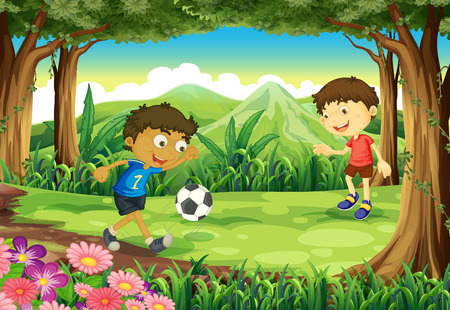 boys soccer: Illustration of a forest with two boys playing soccer Illustration