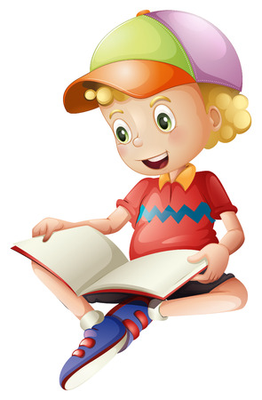 Illustration of a cute kid reading on a white background Vector