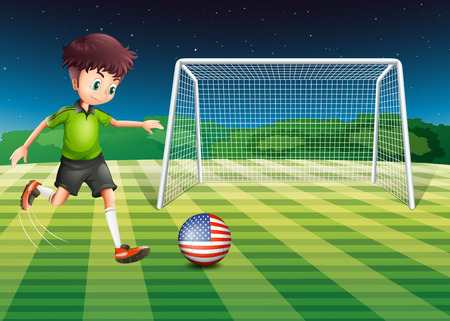 Illustration of a player kicking the ball with the flag of USA Vector