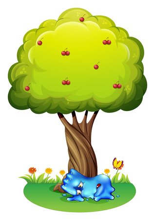 tiresome: Illustration of a tired monster under the tree on a white background Illustration