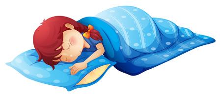 白い背景の上眠っている子供のイラスト