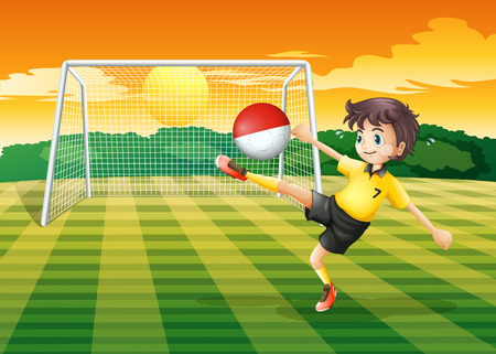 Illustration of a player kicking the ball with the flag of Indonesia Vector