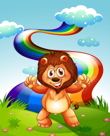 Illustration of a happy lion at the hilltop with a rainbow in the sky Illustration