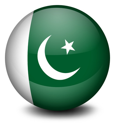 pakistan flag: Illustration of a ball with the flag of Pakistan on a white background