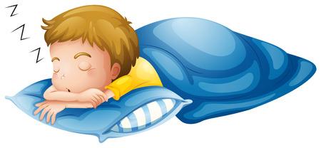 sono: Ilustração de um menino pequeno que dorme sobre um fundo branco Ilustração