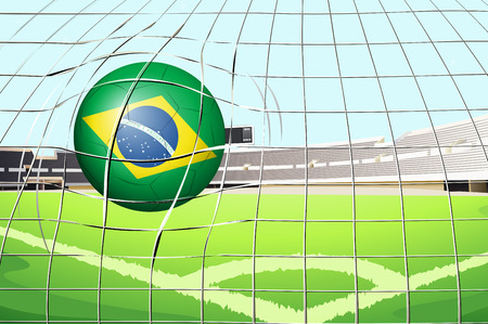 outdoor seating: Illustration of a soccer ball with the flag of Brazil Illustration