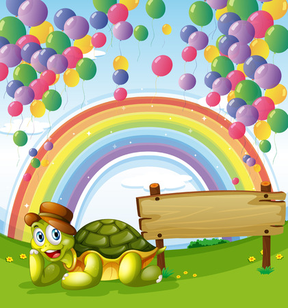 Illustration of a turtle beside the empty board with a rainbow and floating balloons in the sky Vector