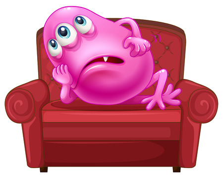 pinkish: Illustration of a couch with a pink monster on a white background