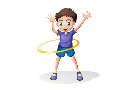 Illustration of a young man playing with the hulahoop on a white background Illustration