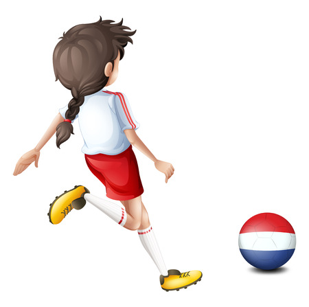 footwork: Illustration of a girl using the ball with the flag of Netherlands on a white background