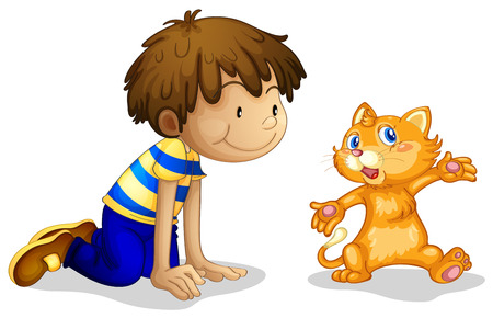 Ilustración de un muchacho joven y su adorable gatito en un fondo blanco Ilustración de vector