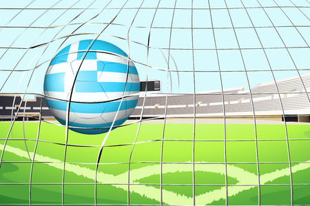 footwork: Illustration of a ball hitting the net with the flag of Greece Illustration